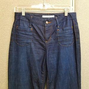 Joe's curvy flare flat pockets dark wash jeans